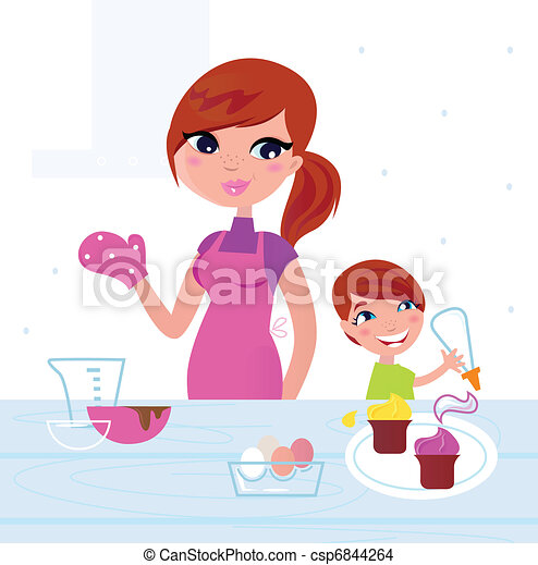 Happy mother with her son cooking in the kitchen  - csp6844264