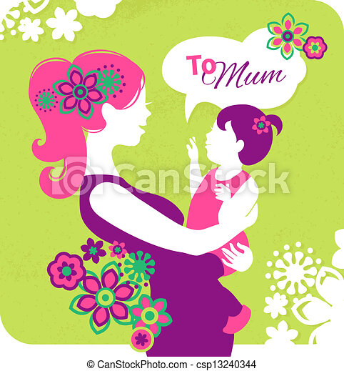 happy mother s day card with beautiful silhouette of mother eps rh canstockphoto com happy mother's day clip art black and white happy mother's day clip art images