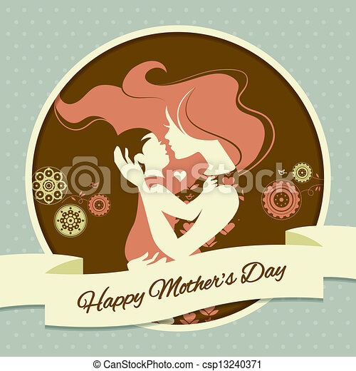 Happy Mother's Day. Card with beautiful silhouette of mother and baby in vintage style - csp13240371