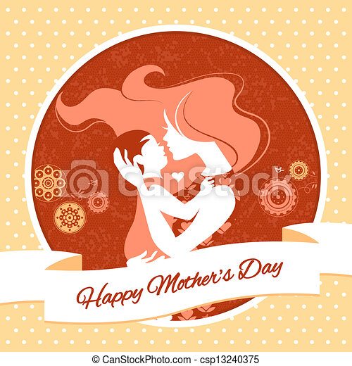 Happy Mother's Day. Card with beautiful silhouette of mother and baby in vintage style - csp13240375