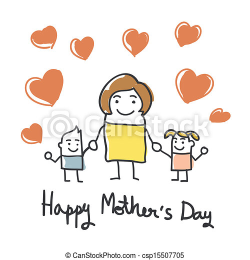 happy mothers day card with cartoon - csp15507705