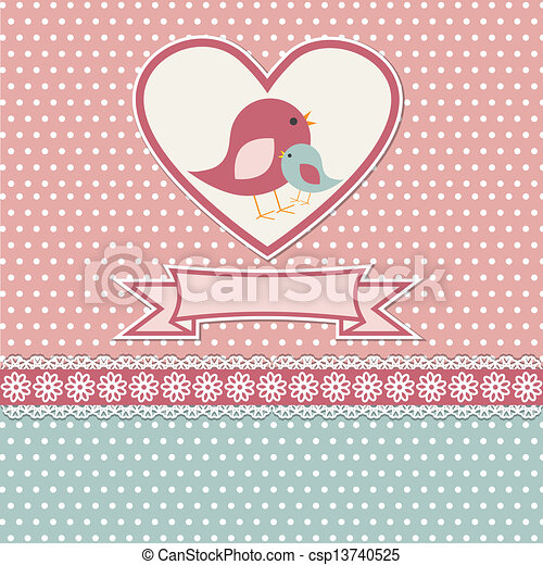 Happy mothers day card with cute birds - csp13740525