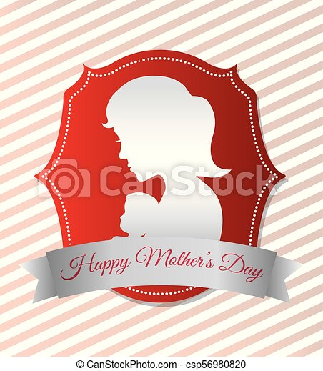 happy mothers day card with silhouette mom and baby - csp56980820