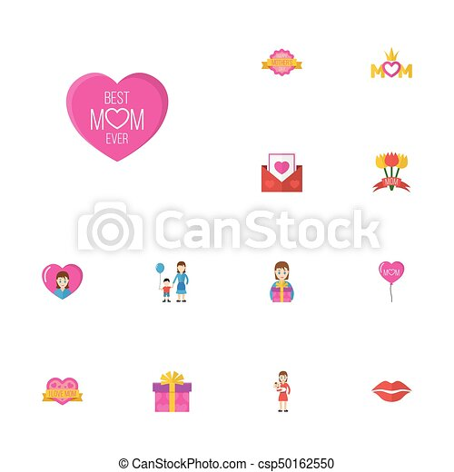 Happy mothers day flat icon layout design with kiss sticker and son symbols lovely