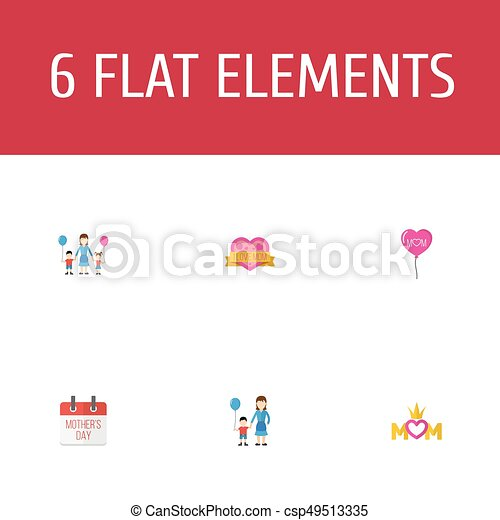 Happy mothers day flat icon layout design with special day children and sticker symbols