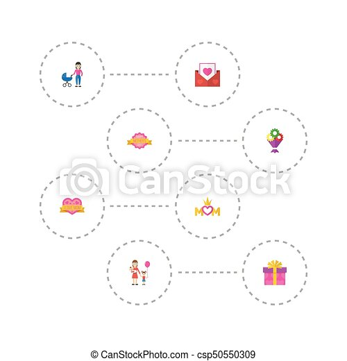 Happy mothers day flat icon layout design with design present and sticker symbols lovely