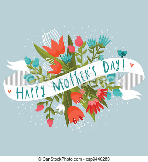Happy Mother's Day floral greeting - csp9440283