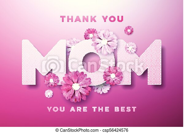 Happy Mothers Day Greeting Card Design With Flower And Thank You Mom Typographic Elements On Pink Background Vector Celebration Illustration Template For