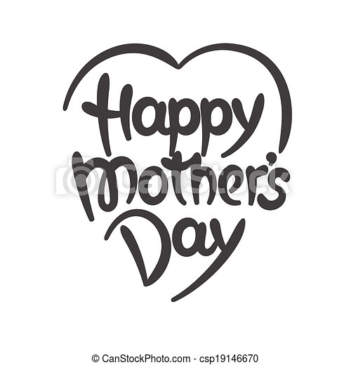 """""""Happy mother's day"""" hand-drawn lettering - csp19146670"""