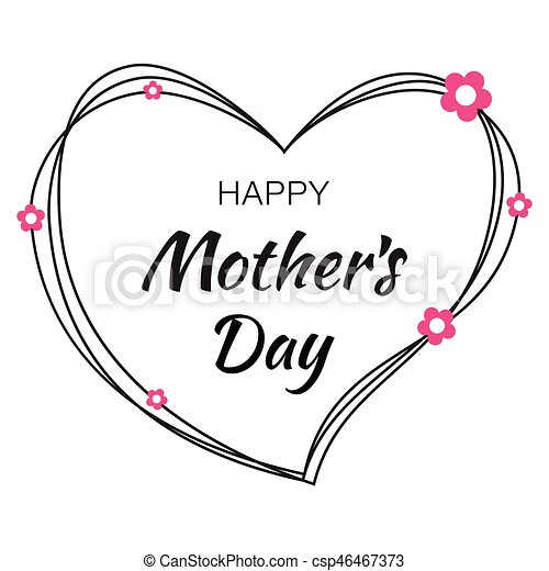 happy mothers day hand drawn typographic lettering with black