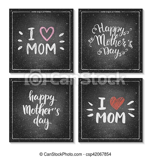 Happy Mothers Day Lettering On Chalkboard