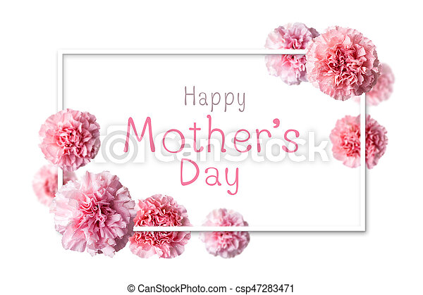 Happy mother\'s day message in white frame with pink carnation ...