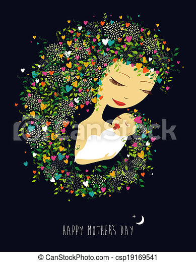 Happy Mothers day mother and child illustration - csp19169541