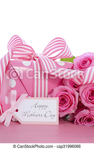 Happy Mothers Day pink polka dot gift. - csp31996066