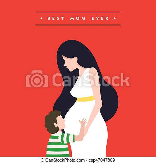 Happy mothers day pregnant mom card illustration - csp47047809