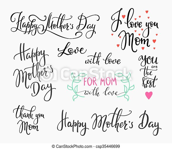 happy mothers day simple lettering calligraphy postcard or poster