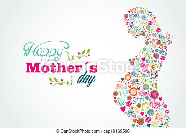 Happy Mothers silhouette pregnant woman illustration - csp19169590