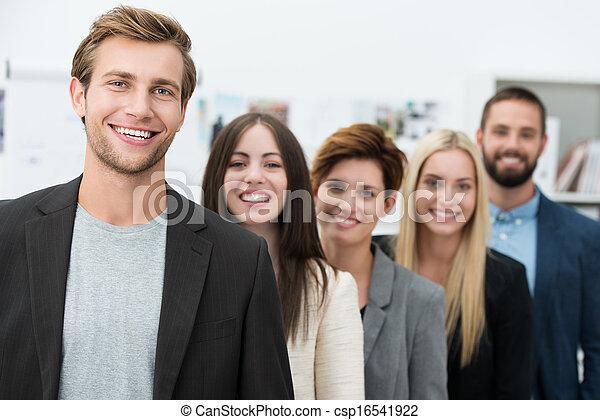 Happy motivated business team - csp16541922