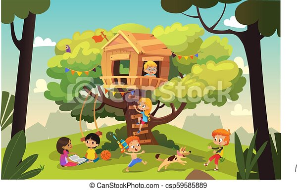 Happy multiracial boys and girls playing and having fun in the treehouse, kids playing with dog, and watering gun, reading book and climb ladder in the neighborhood. Detailed vector Illustration. - csp59585889
