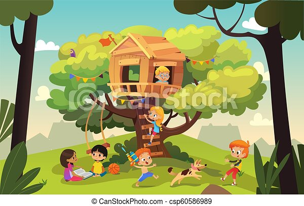 Happy multiracial boys and girls playing and having fun in the treehouse, kids playing with dog, and watering gun, reading book and climb ladder in the neighborhood. Detailed vector Illustration. - csp60586989