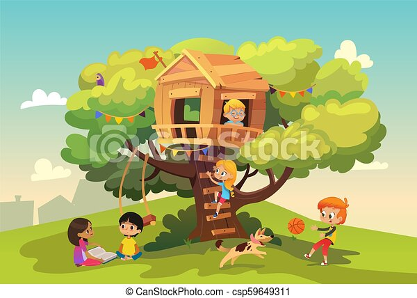 Happy multiracial boys and girls playing and having fun in the treehouse, kids playing with dog, and watering gun, reading book and climb ladder in the neighborhood. Detailed vector Illustration. - csp59649311