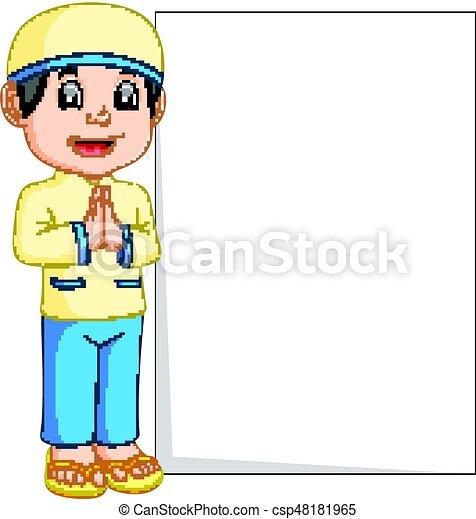 Happy muslim boy cartoon holding blank sign - csp48181965