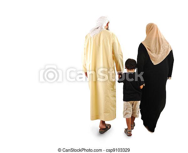 happy  muslim family - csp9103329