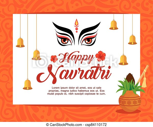 happy navratri celebration poster with face durga and decoration - csp84110172