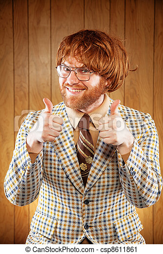 Happy Nerdy 60s Game Show Host Giving 2 Thumbs Up - csp8611861