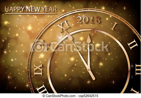 happy new 2018 year with bokeh and lens flare pattern in vintage color style background new year