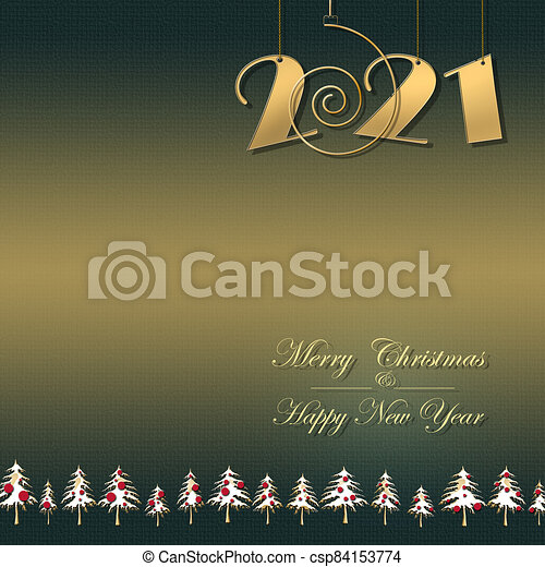 Merry Christmas & Happy New Year 2021 Banner Images Happy New 2021 Year Merry Christmas Elegant Gold Greeting Card Luxury 2021 Gold Card With Hanging 2021 Digits On Green Gold Canstock