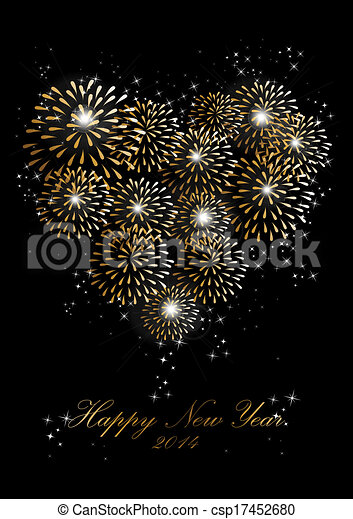 happy new year 2014 fireworks love heart background csp17452680