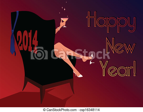 happy new year 2014 greeting card csp16348114