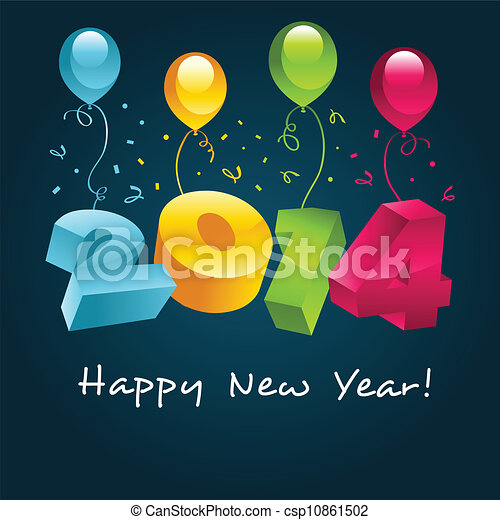 Vector happy new year 2014 greeting card with party vector happy new year 2014 csp10861502 m4hsunfo
