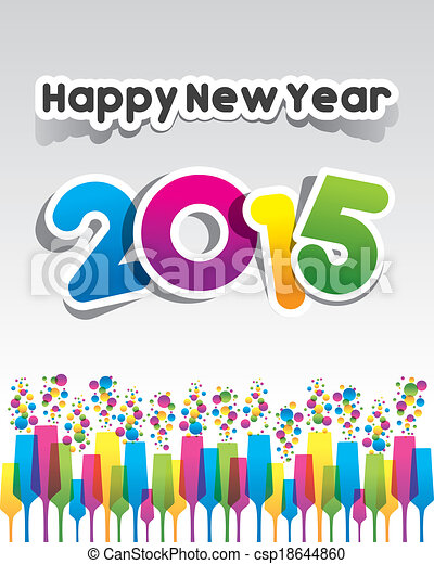 Happy new year 2015 greeting card vector illustration happy new year 2015 greeting card csp18644860 m4hsunfo