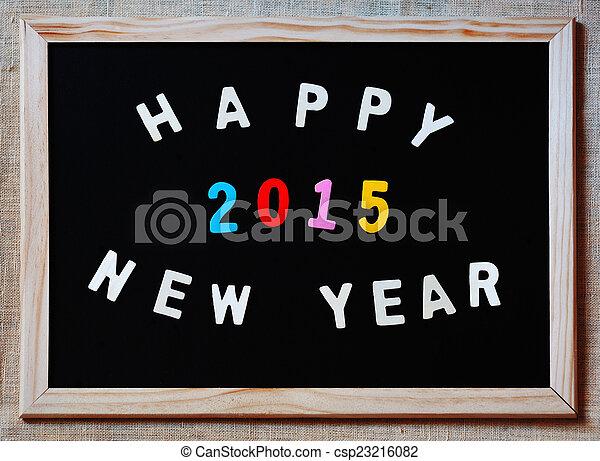 happy new year 2015 on blackboard - csp23216082