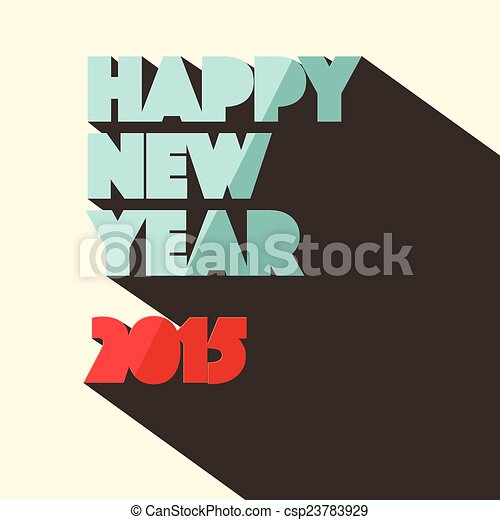 Happy New Year 2015 Title in Retro Style - csp23783929