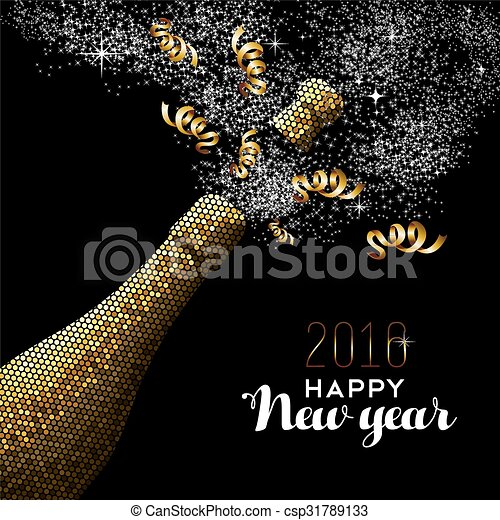 happy new year 2016 gold drink csp31789133