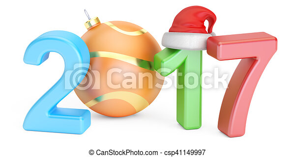 Happy New Year 2017 and Marry Christmas concept, 3D rendering - csp41149997