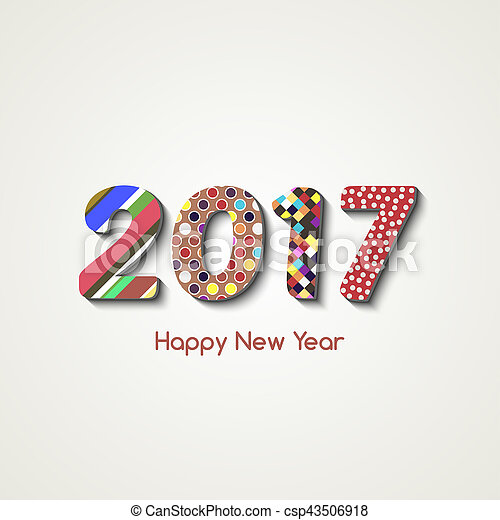 Happy New Year 2017 Background Calendar Decoration In Line