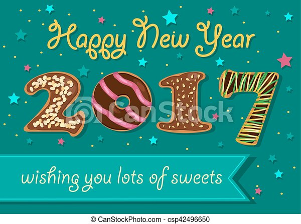 happy new year 2017 chocolate donuts font csp42496650
