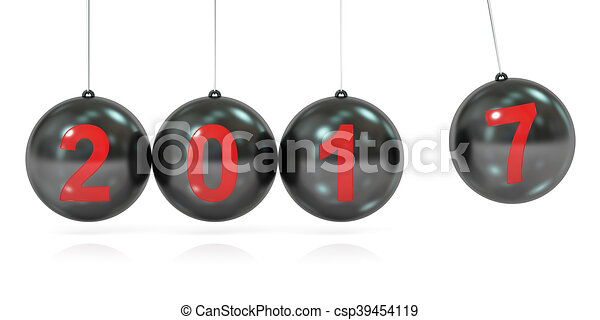 Happy New Year 2017 concept, balancing balls Newton's cradle. 3D rendering - csp39454119