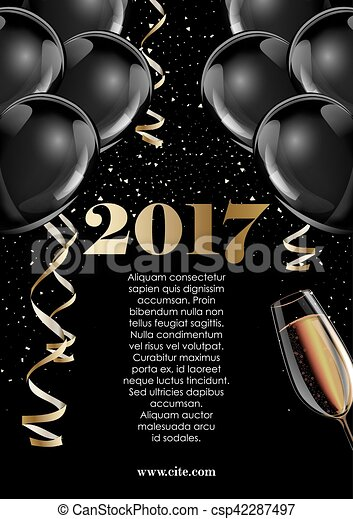 happy new year 2017 fancy gold champagne and black hot air baloons ideal for greeting card or elegant holiday party invitation