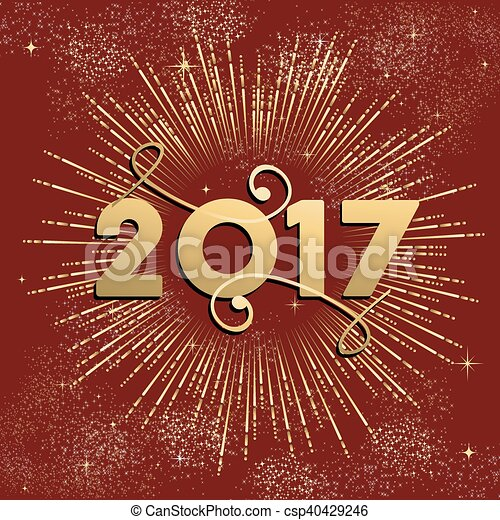 happy new year 2017 firework design in gold csp40429246