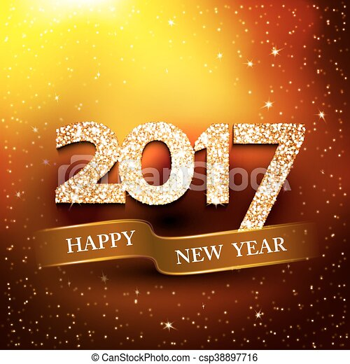 Happy new year 2017 gold background new year greetings card vector happy new year 2017 gold background csp38897716 m4hsunfo