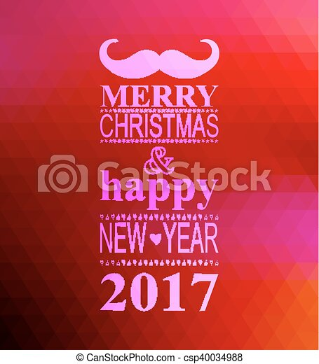happy new year 2017 hipster banner with mustache csp40034988