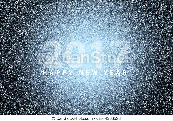 happy new year 2017 on flar lighting effect with silver glitter background csp44366528