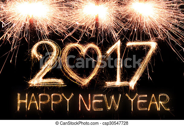 Stock Photo of Happy new year 2017 written with Sparkle firework ...