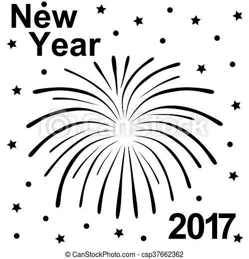 Happy New Year 2017 Text And Fireworks Silhouette On A White Background