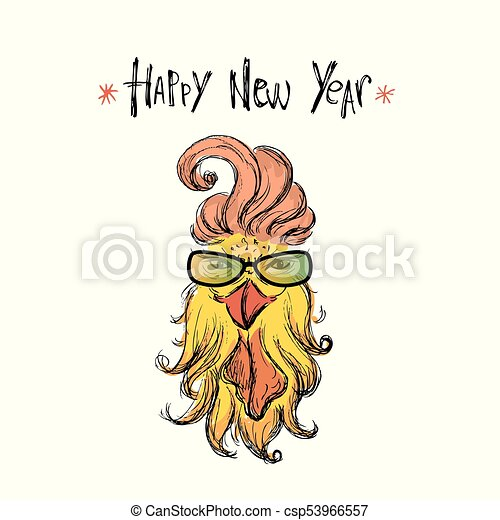Happy new year 2017 with funny fashion rooster ,hand drawn animal ...